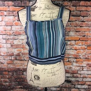 ASOS Band of Gypsies striped cropped tank top sz M